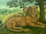 Oil on Board –Sleeping with Lion