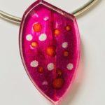 Acrylic Necklace in Burgundy Orange
