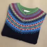 Lambswool Eribe Alpine Cardigan in Navy Brights