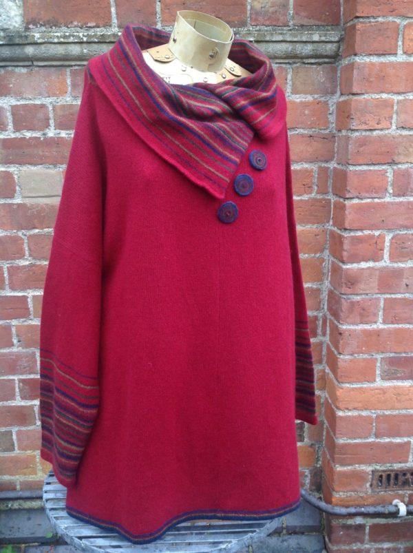 Felted Merino Wool Country Stripe Sweater