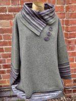 Felted Merino Wool Stripy Collar Jumper