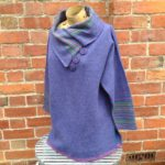 Felted Merino Wool Plum Stripy Collar Sweater