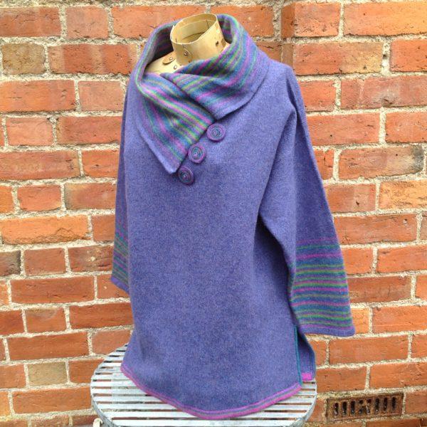 Felted Merino Wool Plum Stripy Collar Sweater