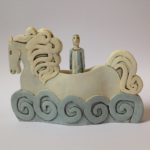 Seahorse and Figure in Earthenware