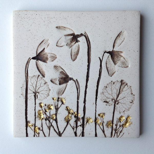 Snowdrop Botanical Ceramic Tile