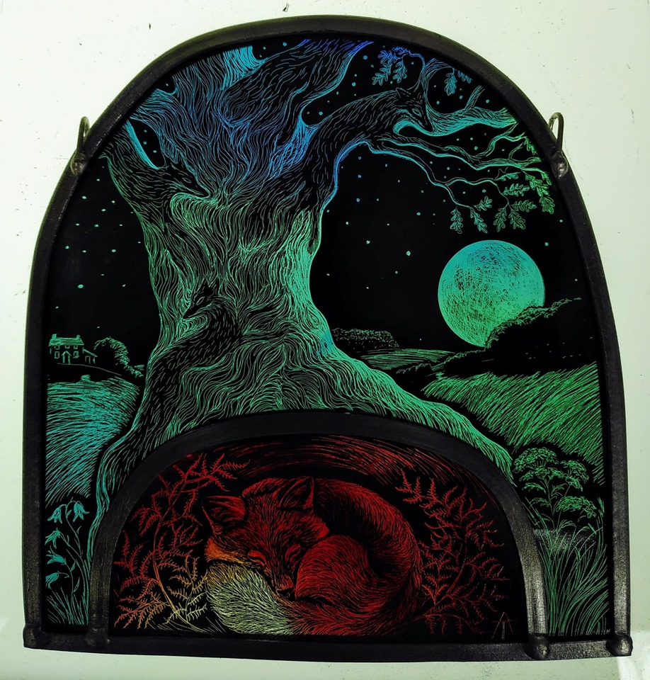 Stained Glass Panel 'The Fox Tree'