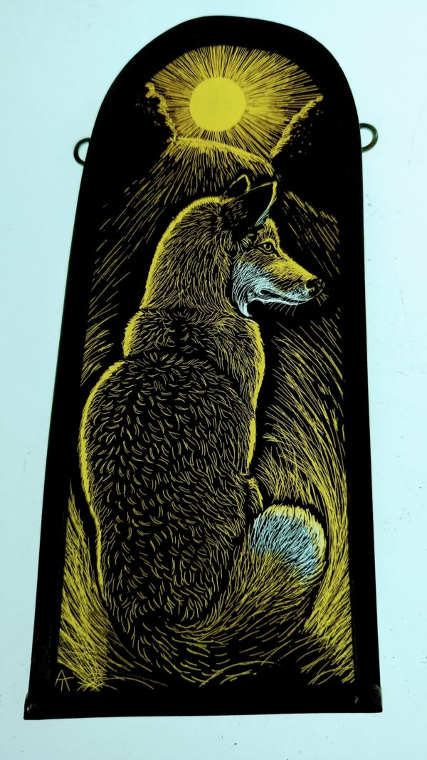 Stained Glass Panel 'Sunset Fox'