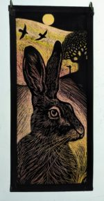 Stained Glass Panel 'Hare and Ravens'
