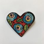 Colourful Ceramic Heart Brooch