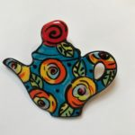Colourful Ceramic Teapot Brooch