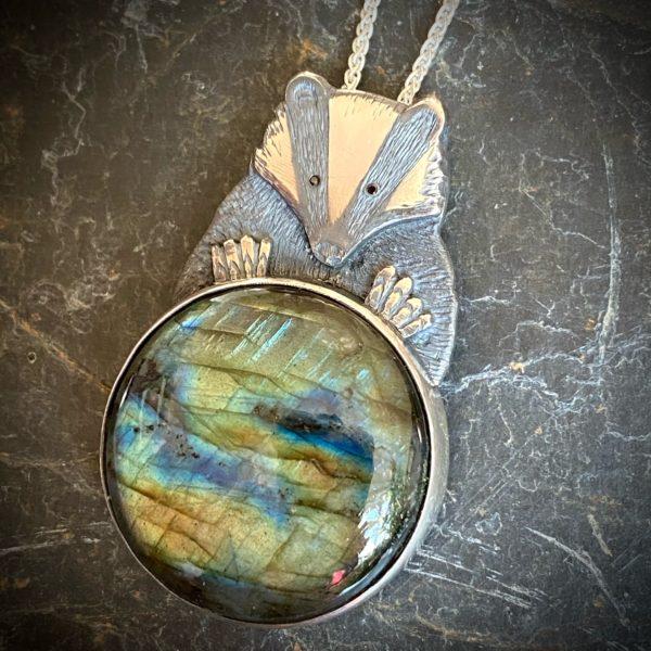 'Badger with Labradorite' Silver Pendant