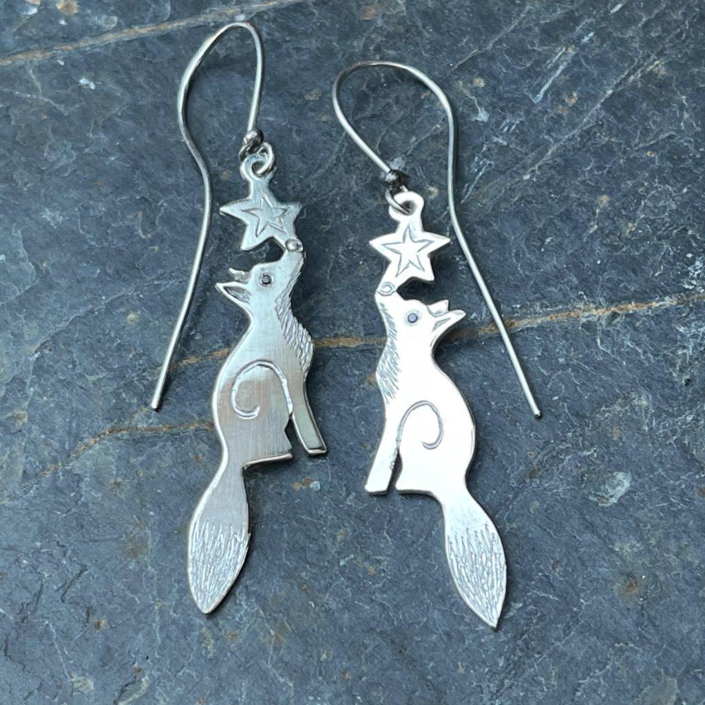 Fox Earrings with Black Diamond Eyes