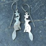 Fox Earrings with Black Diamond Eyes