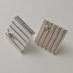 Square Ribbed Silver Studs