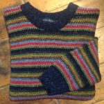 Pure Wool Reverse Multi Stripe Brights Sweater