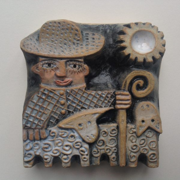 Ceramic Relief Shepherd with Two Sheep