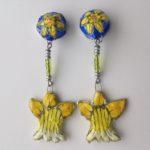 Papier-Mâché Daffodil Clip Earrings