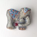 Papier-Mâché Elephant Brooch