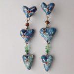 Papier-Mâché Three Hearts Drop Earrings