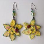 Papier-Mâché Daffodil Earrings