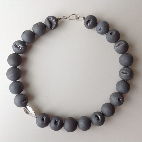 Agate with Electro Plated Druzel Necklace