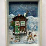 Recycled Art Shepherd in the Snow