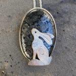 'Hare over Marcasite'Silver Pendant