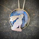 'Hare over Labradorite'Silver Pendant