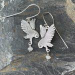 Owl Earrings with Moonstones