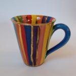 Striped Mug with Blue Handle