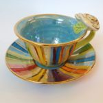 Striped Tea Cup & Saucer with Rose