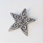 Patinated Silver Star Brooch
