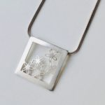 Silver Square and Flower Pendant
