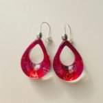 Acrylic Shark Eye Earrings in Zingy Pink