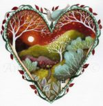 'Rising Moon'Hand Embellished Print