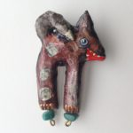 Papier-Mâché Dog Brooch