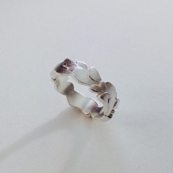 Frosted Silver Wing Ring
