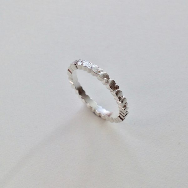 Frosted Silver Double Wing Ring