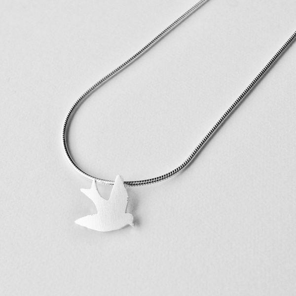 Silver Swallow Pendant Tiny