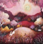 'Rose Moon' Hand Embellished Print