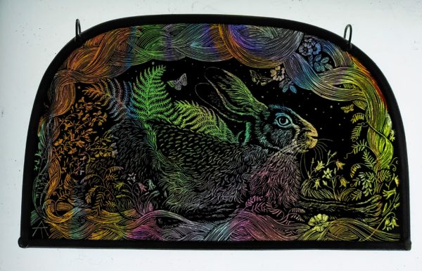 'May Queen Hare' Stained Glass Panel