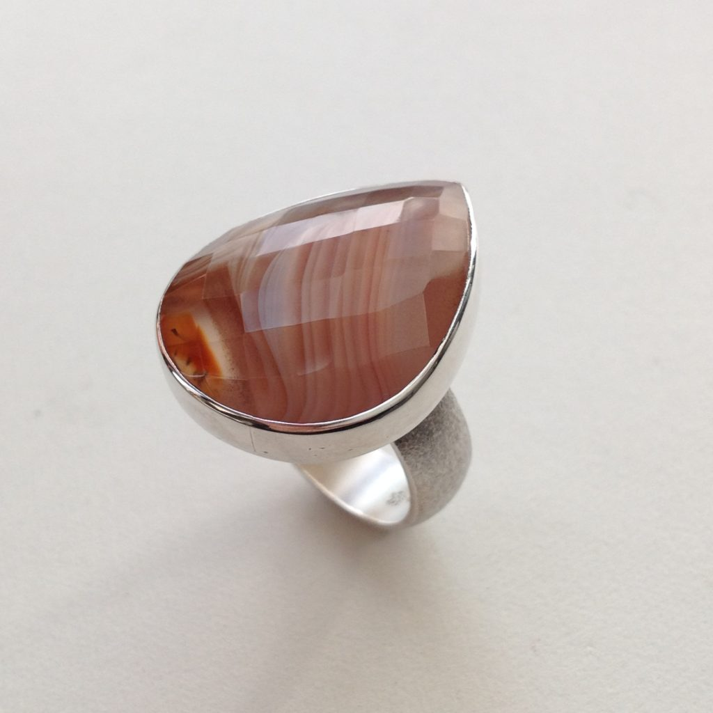 Silver Ring with Faceted Marble Agate