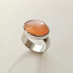 Silver and Oval Orange Moonstone Ring