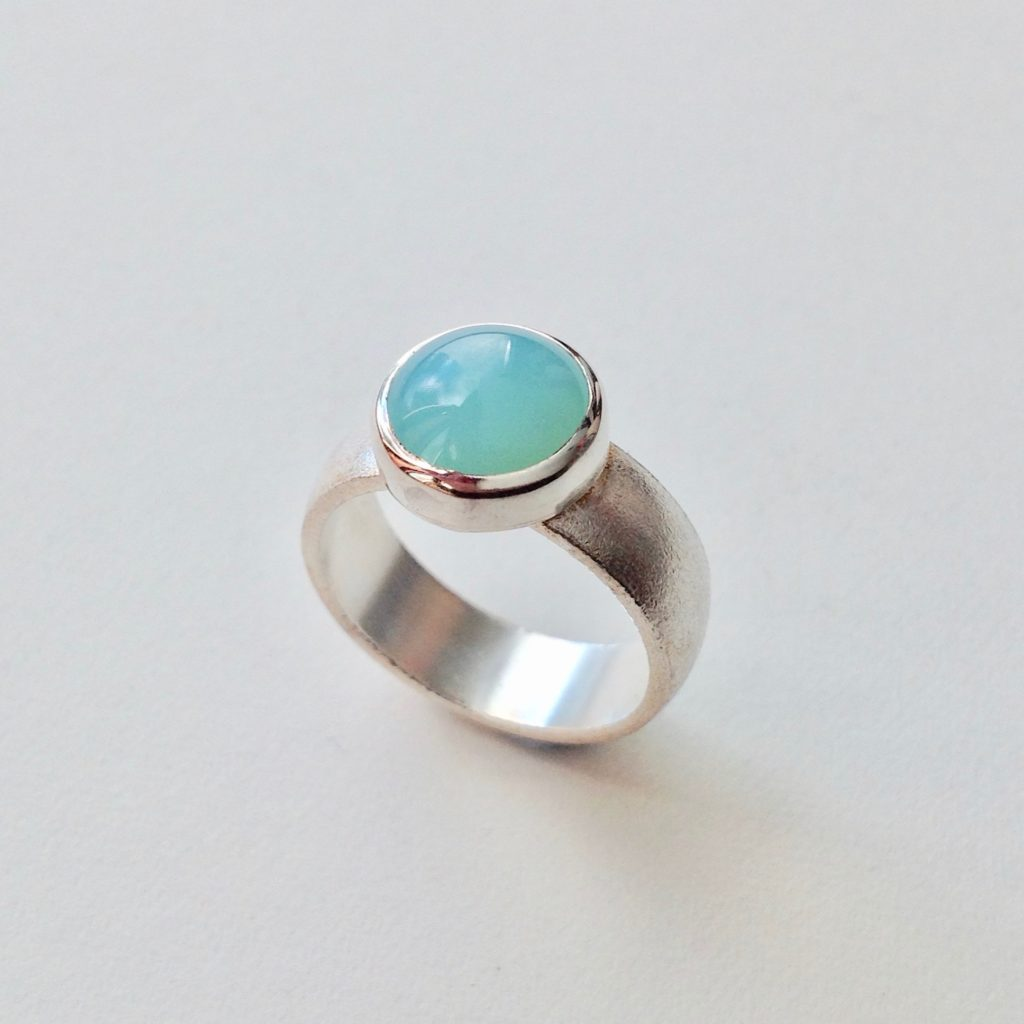 Silver and Sea Green Agate Ring