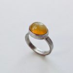 Silver and Yellow Opal Ring