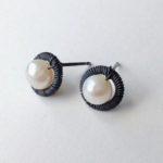 Bound Oxidised Circle Earrings