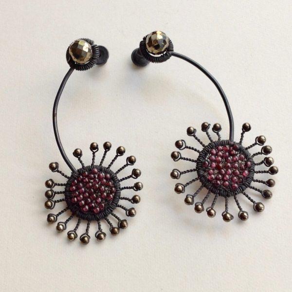 Silver Sparkle Sunflower Earrings