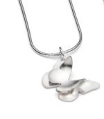 Silver Double Butterfly Necklace Small