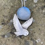 Silver Owl Pendant with Moonstone