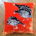 Guinea Fowls on Orange Cushion